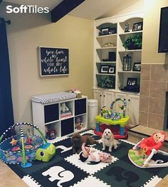 Create a safe play area on your tile floor with SoftTiles Foam Play Mats. This is a 9 piece set with sloped borders that measures 6.5' x 6.5'. This is a high quality mat that is thicker than most on the market!