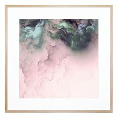 Soft pink and bold, metallic grey and teal create the picture of storm clouds at sunset in this striking contemporary print. This piece works as a lush accent for your living room, bedroom or office.
