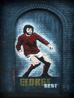 Graffiti of George Best in Northern Ireland.
