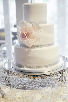 White cake with silver sequined details