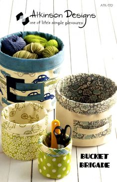 Sewing Fabric Storage Bucket Brigade sewing pattern from Atkinson Designs Sewing Hacks, Sewing Tutorials, Sewing Crafts, Sewing Tips, Bag Tutorials, Fabric Boxes, Fabric Scraps, Fabric Basket, Fabric Storage Baskets