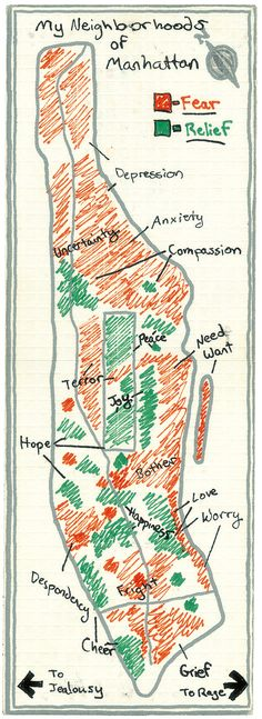 """Manhattan of the Mind - """"Mapping Manhattan: A Love (and Sometimes Hate) Story in Maps by 75 New Yorkers"""" - NYTimes.com"""