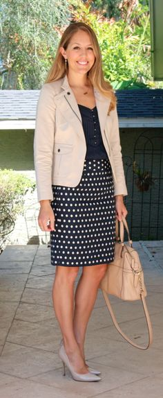 Navy polka dot skirt and khaki blazer with nude pumps. Via J's Everyday Fashion (BTW, love this blog and shopping guide!)