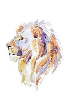 Lion  animal watercolor painting  art print by MundoMeo on Etsy