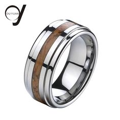 Tungsten Ring with Wood Inlay Tungsten Carbide Ring Wood Ring