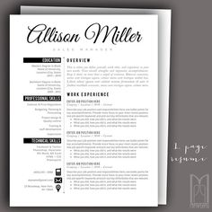 Resume Template and Cover Letter Template Professional Modern Resume Template, Creative Resume Templates, Cv Template, Cover Letter For Resume, Cover Letter Template, Resume Writing Tips, Thank You Letter, Professional Resume, Lettering