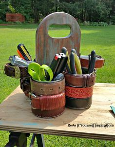 Probably would not use belts but this has potential Make a Gorgeous Tool Caddy From Tin Cans and a Cutting Board