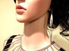 Earrings. Silver Color Long Earrings. Oval Metal Earrings.