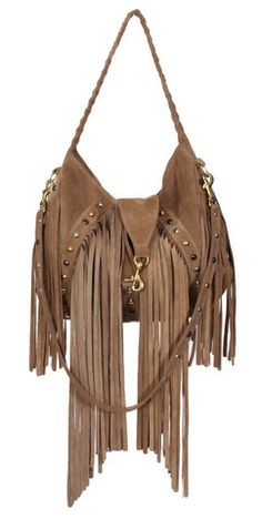 322851a3fa J. J. Winters Fringed Studded Shoulder Bag Taupe Suede Cute Handbags