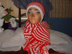 New Crocheted Red/White  Women Accessorie Scarf & Benie Hat Set NEW Handmade  #Handmade #LongScarfHatBenie