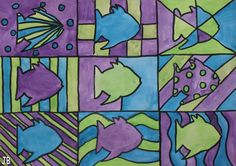 fish: cool colors, line, variety, unity, Andy Wharhol