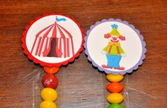 Circus Favor Bags. 1x8 cello bag. Carnival. Clown. Big Top. Goodie Bag. Favors. Set of 12. $8.00, via Etsy.