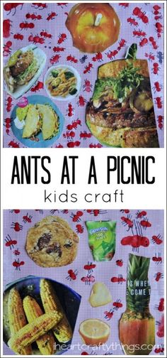 Kids will love making little fingerprint ants to create this Ants at Picnic Kids Craft. A perfect summer craft for kids. Ant Crafts, Insect Crafts, Preschool Crafts, Kids Crafts, Insect Art, Kids Picnic Crafts, Bear Crafts, Picnic Activities, Summer Activities