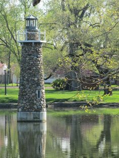 Lighthouse at Falls Park, Pendleton, Indiana.I want to go see this place one day. Please check out my website Thanks.  www.photopix.co.nz