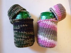 Simple can cozy with a top to keep out pesty bugs! Easy project for a beginner. Pattern is easily adjustable to fit taller cans or bottles.