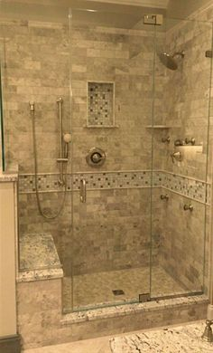 Elegant Stone Bathroom Design - Lavatory Transformation Bogs are place for refuge and serenity. They're private areas that ought to mirror our personalities in a method that makes us really feel relaxed and carefree. Tile Walk In Shower, Master Bathroom Shower, Walk In Shower Designs, Stone Bathroom, Bathroom Showers, Bathroom Ideas, Bathroom Remodeling, Bathroom Designs, Bathroom Organization