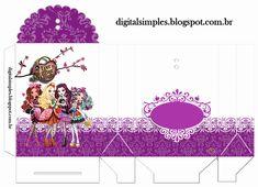 Kit Digital Ever After High, artes digitais para imprimir, rótulos, caixinhas, kit para Aniversário menina.