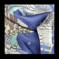 NEIGES DE RUSSIE silk scarf by ANNE TOURAINE Paris