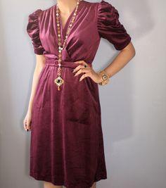 A personal favorite from my Etsy shop https://www.etsy.com/listing/249779790/vintage-purple-velvet-dressvelvet