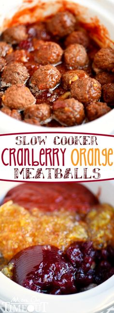 An impressive yet delightfully simple appetizer that is perfect for any celebration - Slow Cooker Cranberry Orange Meatballs! Just five ingredients and tons of delicious flavor! Could also class it up with adorable pastry puff cups. Crock Pot Slow Cooker, Slow Cooker Recipes, Crockpot Recipes, Cooking Recipes, Slow Cooker Appetizers, Meat Appetizers, Crock Pots, Slow Cooking, Comida Diy