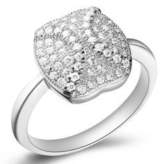 18K Platinum Plated 925 Sterling Silver Women's Ring