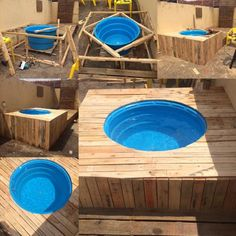 Pallet Swimming Pool - The Best Pallet Furniture And DIY Ideas. A DIY pallet swimming pool that is perfect for any backyard. Piscina Diy, Diy Swimming Pool, Diy Pool, Deco Spa, Whirlpool Deck, Hot Tub Surround, Hot Tub Deck, Outdoor Projects, Outdoor Decor