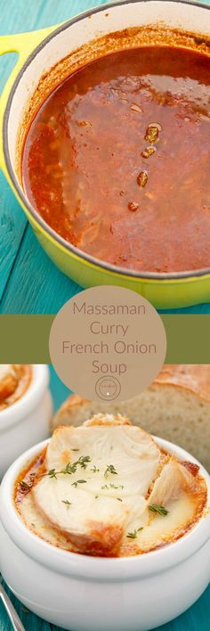 Massaman Curry French Onion Soup | http://thecookiewriter.com | @thecookiewriter | #soup | A hearty and inviting recipe, this  curry French onion soup is perfect for any holiday (Thanksgiving anyone?!)
