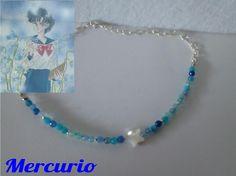 Mercurio Gargantilla de ágatas azules, con estrella de nácar. http://tienda-mermaidtearsshop.rhcloud.com/es/gargantillas/68-sailor-moon-inspiration.html