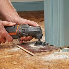 If you're installing a new floor, a flush-cutting blade on an oscillating tool will slice through doorjambs like butter! With a scrap of flooring as a guide, the tool will make straight, clean cuts so that the new flooring will easily slip into place.