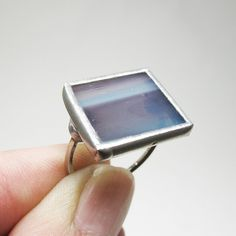 Blue Horizon  Sterling Silver Stained Glass Ring  by faerieglass