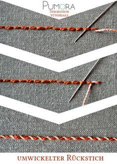 Pumora's Lexikon der Stickstiche: der umwickelte Rückstich