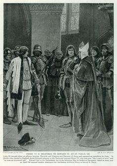 Henry VI is Delivered to Edward IV at St. Paul's, 1471. Illustration for Story of the British Nation (Hutchinson, c 1920).