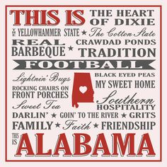 Show your love for Alabama with this Yellowhammer State sign. This sign features just a few things that makes Alabama such a special place to live, work, and play! Proudly Made in the USA. We proudly