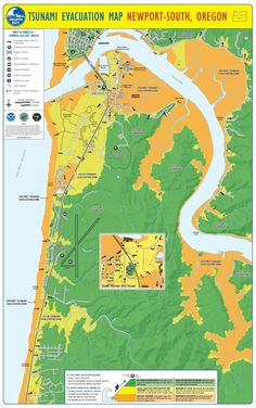 Tsunami evacuation map. Newport-South, Oregon, by the Oregon Department of Geology and Mineral Industries