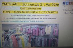 Vatertag 2020 21. MAI 2020 CORONA Rabatt 20% Mode Sturm Aidenbach Trends, Mai, Shopping, Corona, Ascension Of Jesus, Father's Day