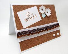 Best Wishes Card  Wedding Card  Brown and door PrettyByrdDesigns
