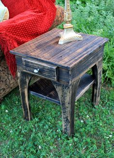 """End Table / Night Stand (""""Out of the Ashes""""), Reclaimed Wood, Black & Brown Finish - Handmade. $375.00, via Etsy."""