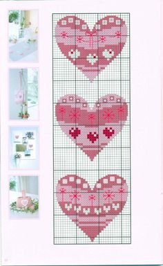 Acufactum - Country-Hearts Sommer in Pink Cross Stitch Bookmarks, Cross Stitch Needles, Cross Stitch Heart, Cross Stitch Flowers, Cross Stitch Designs, Cross Stitch Patterns, Cross Stitching, Cross Stitch Embroidery, Hama Mini
