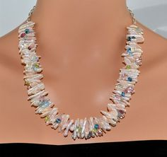 LP 1221 Pink Freshwater Pearls Aquamarine by laurapaulinedesigns