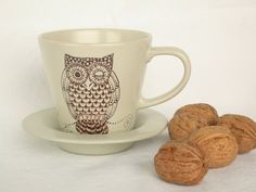 brown owl tea coffee cup and saucer  hand painted day by madrab, €29.00