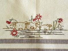 Sheep Pigs Hand Embroidery PDF Pattern Farm by countrygarden
