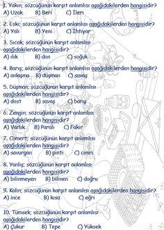 ilkokul ödevleri: 2. sınıf türkçe zıt sözcükler testi