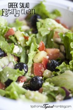 Clean Eating Challenge~ Greek Salad recipe along with a bunch of other #cleaneatingchallenge blogger recipes. So perfect for getting that swimming suit body back! #healthy #cleaneating