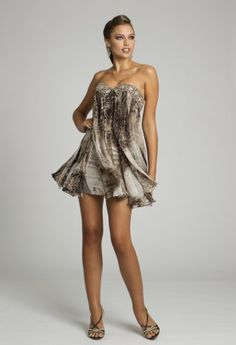 Homecoming Dresses - Short Animal Print Babydoll Dress with Beaded Band from Camille La Vie and Group USA