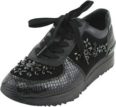 MICHAEL Michael Kors Women's Allie Black Embellished Lace-Up Sneakers 10 B(M) US Women