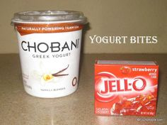 You'll need just two ingredients to make yogurt bites: 1 1/2 cups Greek Yogurt 3 oz. box of Jell-O