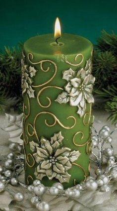 Green Poinsettia Flower Christmas Pillar Candles, Set of 6 Más Candle Art, Candle Lanterns, Diy Candles, Pillar Candles, Decorative Candles, Hanging Candles, Floating Candles, Christmas Candles, Christmas Crafts