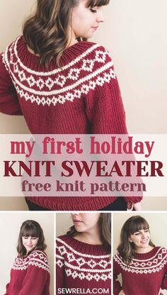 This is my holiday knit sweater for my first ever annual knit-a-long! Click this pin to get started and join hundreds of other women making it with me! Christmas Knitting Patterns, Sweater Knitting Patterns, Knit Patterns, Ugly Xmas Sweater, Christmas Sweaters, Holiday Sweater, Fair Isle Knitting, Free Knitting, Couple Christmas
