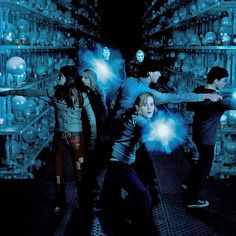 """The Hall of Prophecy was the first-ever completely computer-generated set on the Harry Potter movies. """"We were going to physically manufacture fifteen thousand glass spheres and place them on glass shelves. Then we did a test and realized that when these shelves went crashing over, it was going to take weeks to replace and reset the orbs."""" - Stuart Craig #HarryPotter"""