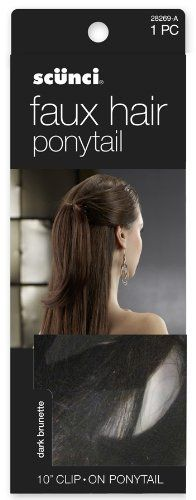 """Scunci Faux Hair 10"""" Clip On Ponytail (Dark Brunette)-28269-A by Scunci. $8.99. Create day or evening looks. Synthetic hair extension with mini braids adds dimension. Dark brunette with highlights and lowlights for natural look. 12 inch length for ponytailing or added volume. Multi toothed jaw clip for secure hold. With scunci faux hair a woman should never have a bad hair day. a multi-toothed jaw clip holds this brunette faux hair extension securely in place. 12..."""